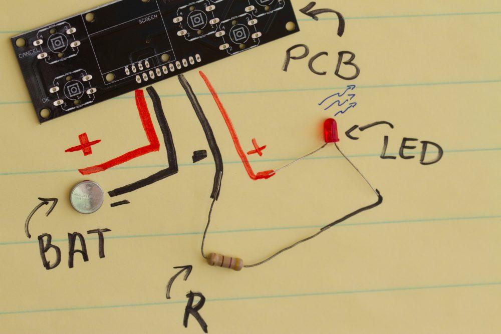 Basic elements to turn on a LED